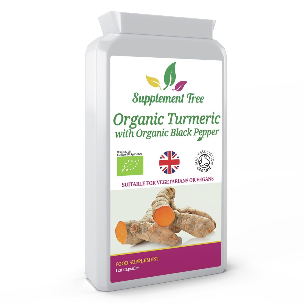 Organic Turmeric 500mg With Organic Black Pepper 5mg – Soil Association Certified