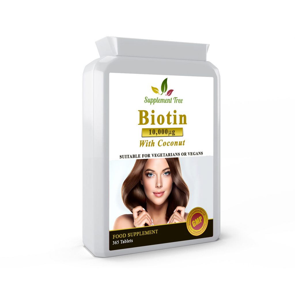 BIOTIN 10,000mcg With Coconut Oil Powder 365 Tablets (1 Year Supply)
