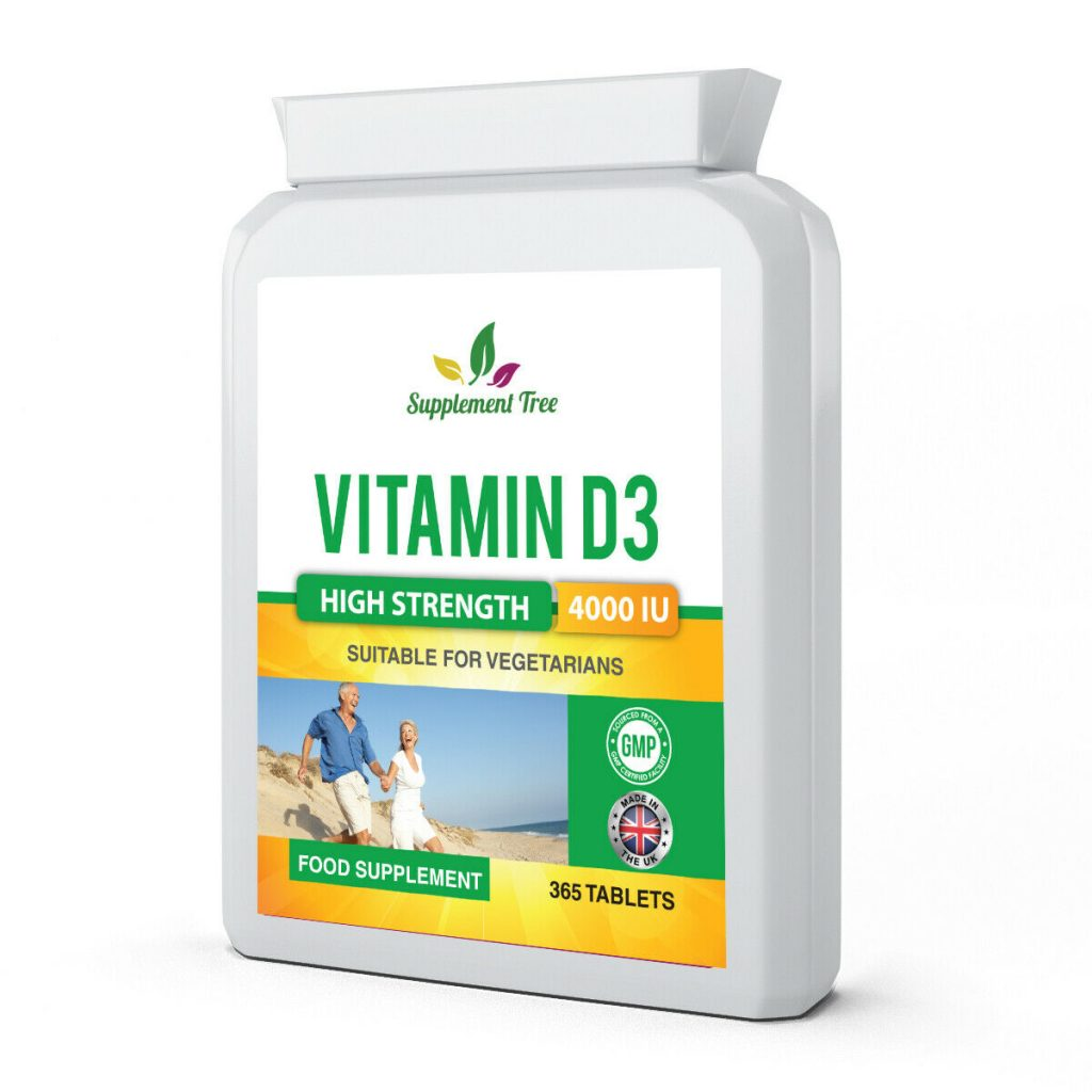 Vitamin D3 4000IU 365 Vegetarian Tablets – High Strength Vit D Cholecalciferol
